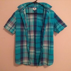 Old Navy Blue Plaid Button Up T-Shirt (Boys 14-16)